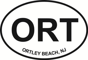 Ortley Beach decal from Oval Envy.  Great price for a durable vinyl decal.  We've got animals, beaches, dogs, cats and more!  Search our catalog for your next Euro Oval Decal.