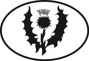 Thistle decal from Oval Envy.  Great price for a durable vinyl decal.  We've got animals, beaches, dogs, cats and more!  Search our catalog for your next Euro Oval Decal.