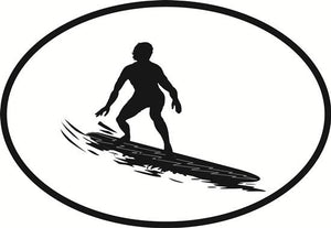 Surfing decal from Oval Envy.  Great price for a durable vinyl decal.  We've got animals, beaches, dogs, cats and more!  Search our catalog for your next Euro Oval Decal.
