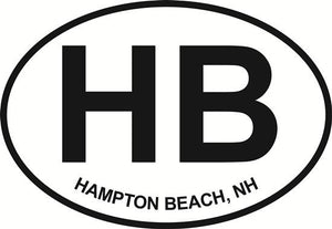 Hampton Beach decal from Oval Envy.  Great price for a durable vinyl decal.  We've got animals, beaches, dogs, cats and more!  Search our catalog for your next Euro Oval Decal.