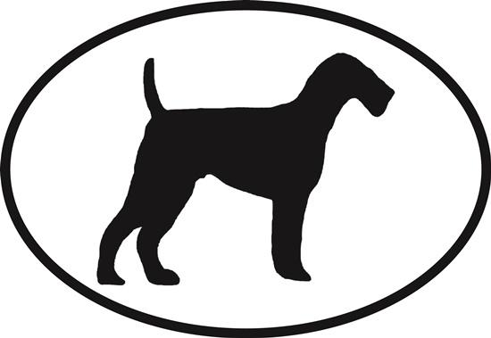 Airedale decal from Oval Envy.  Great price for a durable vinyl decal.  We've got animals, beaches, dogs, cats and more!  Search our catalog for your next Euro Oval Decal.