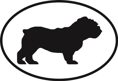 Bulldog decal from Oval Envy.  Great price for a durable vinyl decal.  We've got animals, beaches, dogs, cats and more!  Search our catalog for your next Euro Oval Decal.