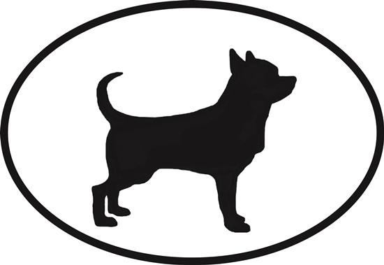 Chihuahua decal from Oval Envy.  Great price for a durable vinyl decal.  We've got animals, beaches, dogs, cats and more!  Search our catalog for your next Euro Oval Decal.