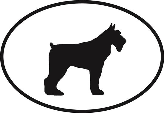 Schnauzer decal from Oval Envy.  Great price for a durable vinyl decal.  We've got animals, beaches, dogs, cats and more!  Search our catalog for your next Euro Oval Decal.