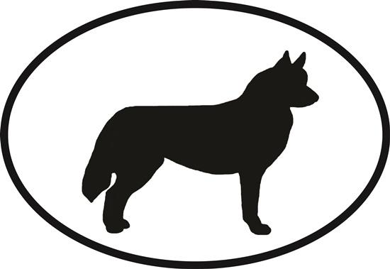 Siberian Husky decal from Oval Envy.  Great price for a durable vinyl decal.  We've got animals, beaches, dogs, cats and more!  Search our catalog for your next Euro Oval Decal.