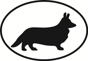 Corgi (Cardigan Welsh) decal from Oval Envy.  Great price for a durable vinyl decal.  We've got animals, beaches, dogs, cats and more!  Search our catalog for your next Euro Oval Decal.