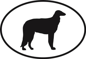 Borzoi decal from Oval Envy.  Great price for a durable vinyl decal.  We've got animals, beaches, dogs, cats and more!  Search our catalog for your next Euro Oval Decal.