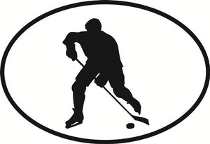 Ice hockey decal from Oval Envy.  Great price for a durable vinyl decal.  We've got animals, beaches, dogs, cats and more!  Search our catalog for your next Euro Oval Decal.