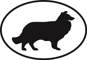 Collie decal from Oval Envy.  Great price for a durable vinyl decal.  We've got animals, beaches, dogs, cats and more!  Search our catalog for your next Euro Oval Decal.