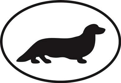 Long Haired Dachshund decal from Oval Envy.  Great price for a durable vinyl decal.  We've got animals, beaches, dogs, cats and more!  Search our catalog for your next Euro Oval Decal.