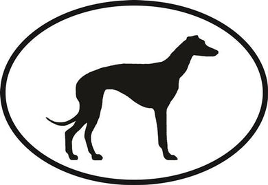Greyhound decal from Oval Envy.  Great price for a durable vinyl decal.  We've got animals, beaches, dogs, cats and more!  Search our catalog for your next Euro Oval Decal.