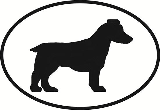 Jack Russell decal from Oval Envy.  Great price for a durable vinyl decal.  We've got animals, beaches, dogs, cats and more!  Search our catalog for your next Euro Oval Decal.