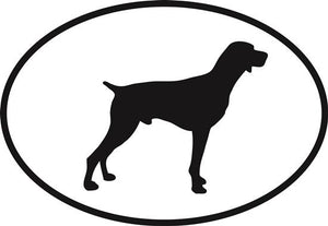 Pointer decal from Oval Envy.  Great price for a durable vinyl decal.  We've got animals, beaches, dogs, cats and more!  Search our catalog for your next Euro Oval Decal.