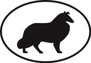 Shetland decal from Oval Envy.  Great price for a durable vinyl decal.  We've got animals, beaches, dogs, cats and more!  Search our catalog for your next Euro Oval Decal.