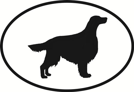 Setter decal from Oval Envy.  Great price for a durable vinyl decal.  We've got animals, beaches, dogs, cats and more!  Search our catalog for your next Euro Oval Decal.