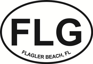 Flagler Beach decal from Oval Envy.  Great price for a durable vinyl decal.  We've got animals, beaches, dogs, cats and more!  Search our catalog for your next Euro Oval Decal.
