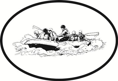 Rafting decal from Oval Envy.  Great price for a durable vinyl decal.  We've got animals, beaches, dogs, cats and more!  Search our catalog for your next Euro Oval Decal.