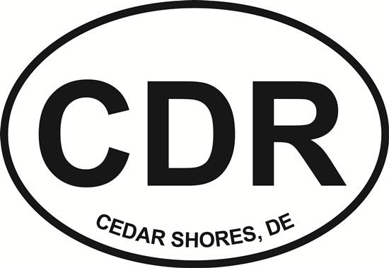 Cedar Shores decal from Oval Envy.  Great price for a durable vinyl decal.  We've got animals, beaches, dogs, cats and more!  Search our catalog for your next Euro Oval Decal.