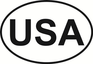USA decal from Oval Envy.  Great price for a durable vinyl decal.  We've got animals, beaches, dogs, cats and more!  Search our catalog for your next Euro Oval Decal.