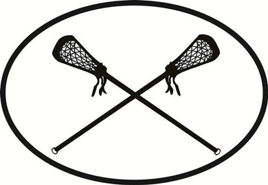 Lacrosse decal from Oval Envy.  Great price for a durable vinyl decal.  We've got animals, beaches, dogs, cats and more!  Search our catalog for your next Euro Oval Decal.