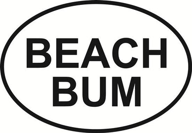 Beach Bum decal from Oval Envy.  Great price for a durable vinyl decal.  We've got animals, beaches, dogs, cats and more!  Search our catalog for your next Euro Oval Decal.