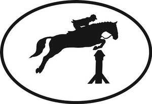 Show Jump decal from Oval Envy.  Great price for a durable vinyl decal.  We've got animals, beaches, dogs, cats and more!  Search our catalog for your next Euro Oval Decal.