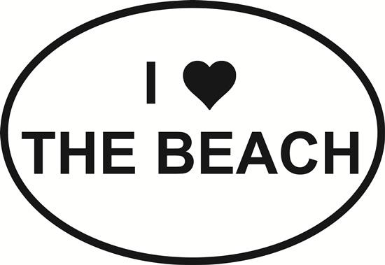 I Love the Beach decal from Oval Envy.  Great price for a durable vinyl decal.  We've got animals, beaches, dogs, cats and more!  Search our catalog for your next Euro Oval Decal.