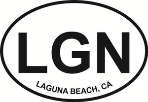 Laguna Beach decal from Oval Envy.  Great price for a durable vinyl decal.  We've got animals, beaches, dogs, cats and more!  Search our catalog for your next Euro Oval Decal.