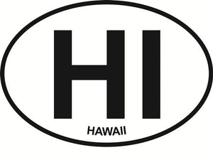 Hawaii decal from Oval Envy.  Great price for a durable vinyl decal.  We've got animals, beaches, dogs, cats and more!  Search our catalog for your next Euro Oval Decal.