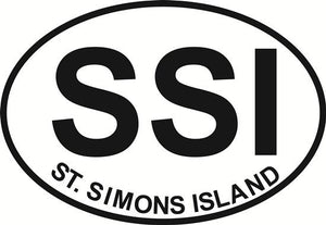 St. Simons Island decal from Oval Envy.  Great price for a durable vinyl decal.  We've got animals, beaches, dogs, cats and more!  Search our catalog for your next Euro Oval Decal.