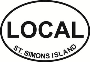 St Simons Local decal from Oval Envy.  Great price for a durable vinyl decal.  We've got animals, beaches, dogs, cats and more!  Search our catalog for your next Euro Oval Decal.