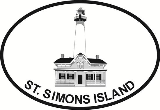 St Simons Lighthouse decal from Oval Envy.  Great price for a durable vinyl decal.  We've got animals, beaches, dogs, cats and more!  Search our catalog for your next Euro Oval Decal.