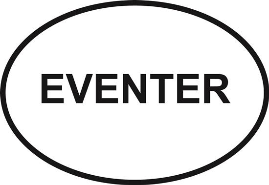 Eventer decal from Oval Envy.  Great price for a durable vinyl decal.  We've got animals, beaches, dogs, cats and more!  Search our catalog for your next Euro Oval Decal.