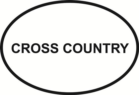 Cross Country decal from Oval Envy.  Great price for a durable vinyl decal.  We've got animals, beaches, dogs, cats and more!  Search our catalog for your next Euro Oval Decal.