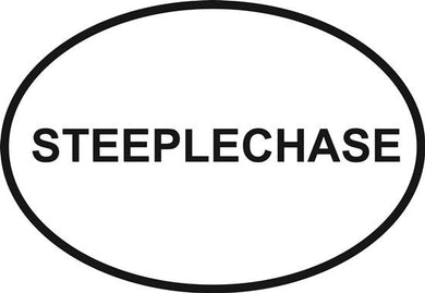 Steeplechase decal from Oval Envy.  Great price for a durable vinyl decal.  We've got animals, beaches, dogs, cats and more!  Search our catalog for your next Euro Oval Decal.