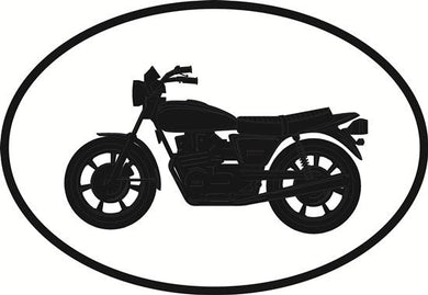 Motorcycle decal from Oval Envy.  Great price for a durable vinyl decal.  We've got animals, beaches, dogs, cats and more!  Search our catalog for your next Euro Oval Decal.