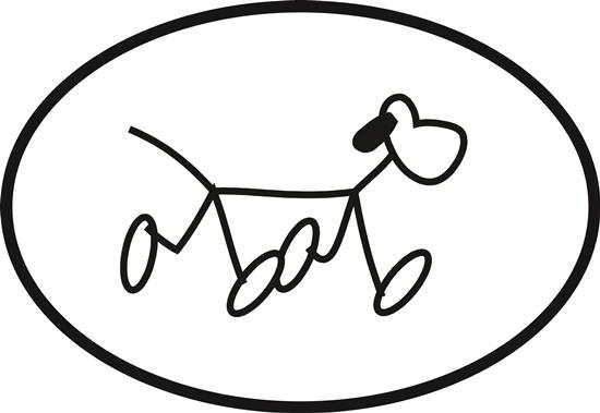 Stick Dog decal from Oval Envy.  Great price for a durable vinyl decal.  We've got animals, beaches, dogs, cats and more!  Search our catalog for your next Euro Oval Decal.
