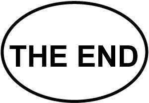 The End decal from Oval Envy.  Great price for a durable vinyl decal.  We've got animals, beaches, dogs, cats and more!  Search our catalog for your next Euro Oval Decal.