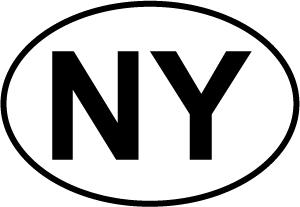 New York (NY) decal from Oval Envy.  Great price for a durable vinyl decal.  We've got animals, beaches, dogs, cats and more!  Search our catalog for your next Euro Oval Decal.