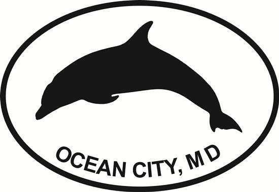 Ocean City Dolphin decal from Oval Envy.  Great price for a durable vinyl decal.  We've got animals, beaches, dogs, cats and more!  Search our catalog for your next Euro Oval Decal.