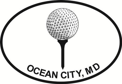 Ocean City Golf decal from Oval Envy.  Great price for a durable vinyl decal.  We've got animals, beaches, dogs, cats and more!  Search our catalog for your next Euro Oval Decal.