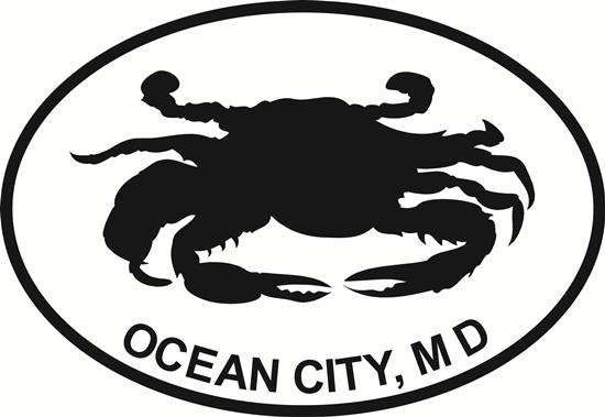 Ocean City Crab decal from Oval Envy.  Great price for a durable vinyl decal.  We've got animals, beaches, dogs, cats and more!  Search our catalog for your next Euro Oval Decal.