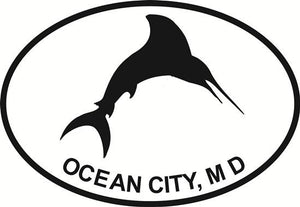 Ocean City Marlin decal from Oval Envy.  Great price for a durable vinyl decal.  We've got animals, beaches, dogs, cats and more!  Search our catalog for your next Euro Oval Decal.