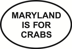 Maryland Crabs decal from Oval Envy.  Great price for a durable vinyl decal.  We've got animals, beaches, dogs, cats and more!  Search our catalog for your next Euro Oval Decal.