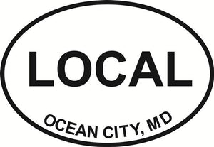 Ocean City Local decal from Oval Envy.  Great price for a durable vinyl decal.  We've got animals, beaches, dogs, cats and more!  Search our catalog for your next Euro Oval Decal.