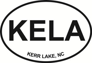 Kerr Lake, NC decal from Oval Envy.  Great price for a durable vinyl decal.  We've got animals, beaches, dogs, cats and more!  Search our catalog for your next Euro Oval Decal.