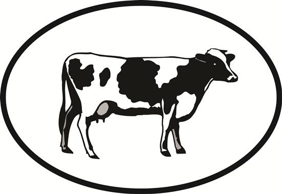 Cow decal from Oval Envy.  Great price for a durable vinyl decal.  We've got animals, beaches, dogs, cats and more!  Search our catalog for your next Euro Oval Decal.