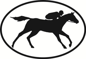 Horse Racing decal from Oval Envy.  Great price for a durable vinyl decal.  We've got animals, beaches, dogs, cats and more!  Search our catalog for your next Euro Oval Decal.
