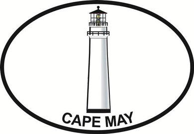 Cape May Lighthouse decal from Oval Envy.  Great price for a durable vinyl decal.  We've got animals, beaches, dogs, cats and more!  Search our catalog for your next Euro Oval Decal.