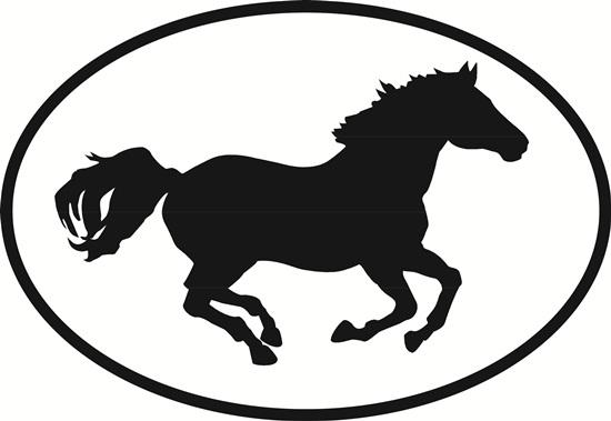 Gallop decal from Oval Envy.  Great price for a durable vinyl decal.  We've got animals, beaches, dogs, cats and more!  Search our catalog for your next Euro Oval Decal.